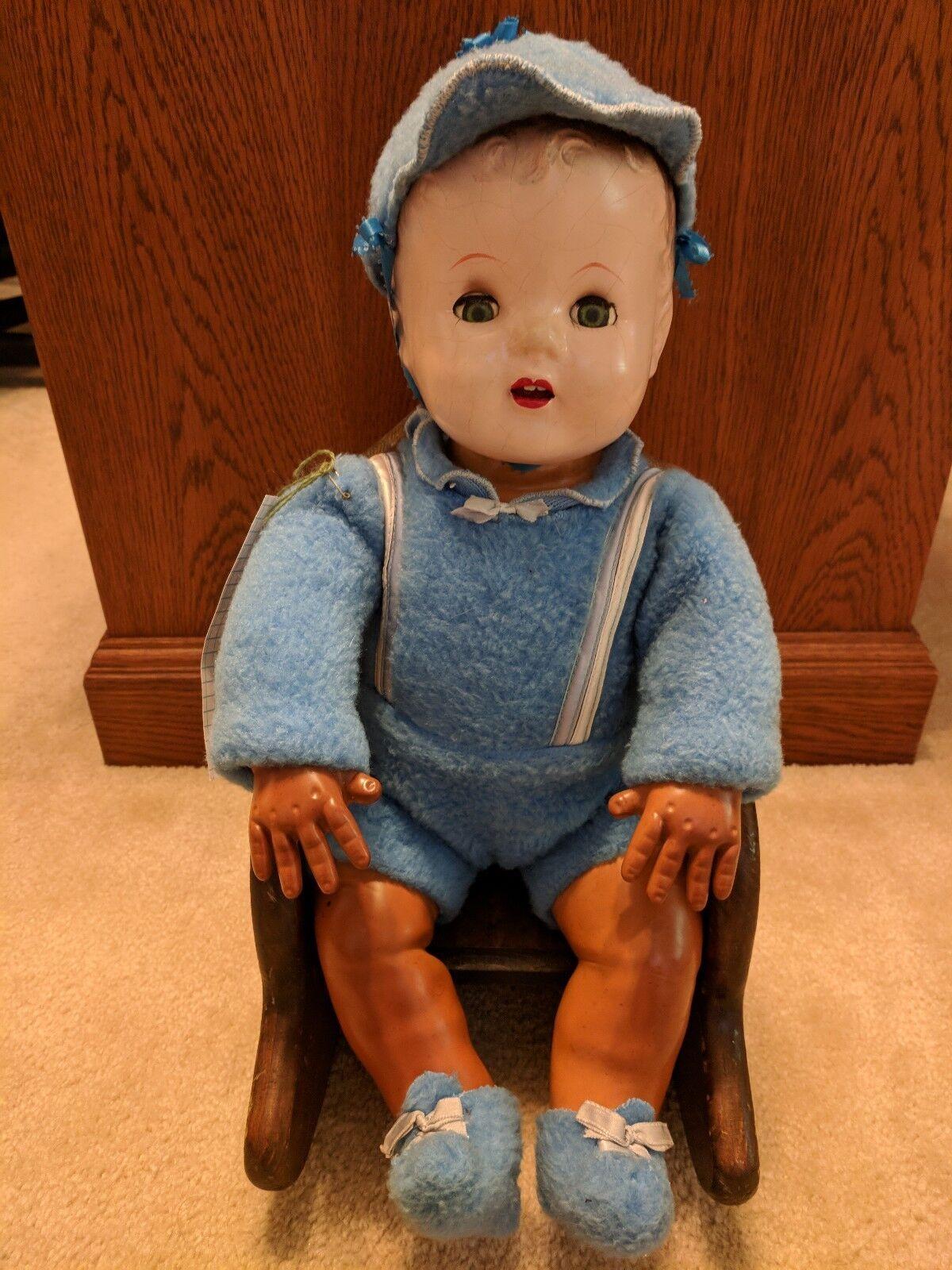 1940s Ideal Baby Magic Piel Bebé Con Tapas De Dormir De Estaño Pestañas - 20  con silla