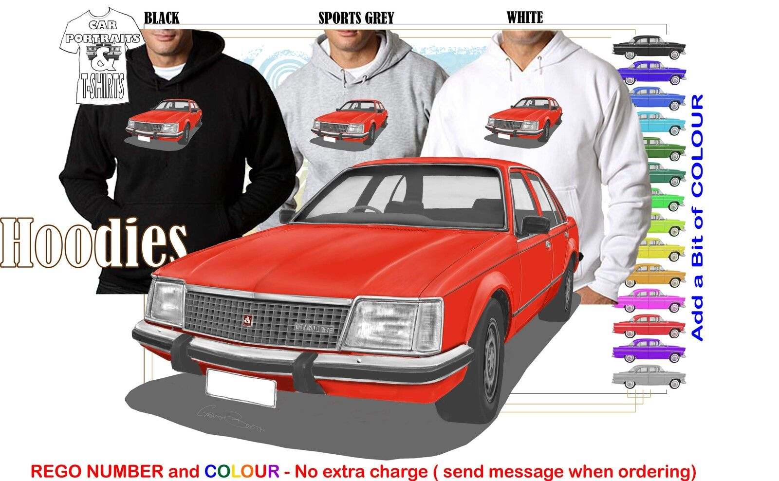 80-81 VC COMMODORE SEDAN HOODIE ILLUSTRATED CLASSIC RETRO MUSCLE SPORTS CAR