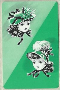 Vintage-Playing-Swap-Card-Cute-little-girls-in-their-Bonnetts