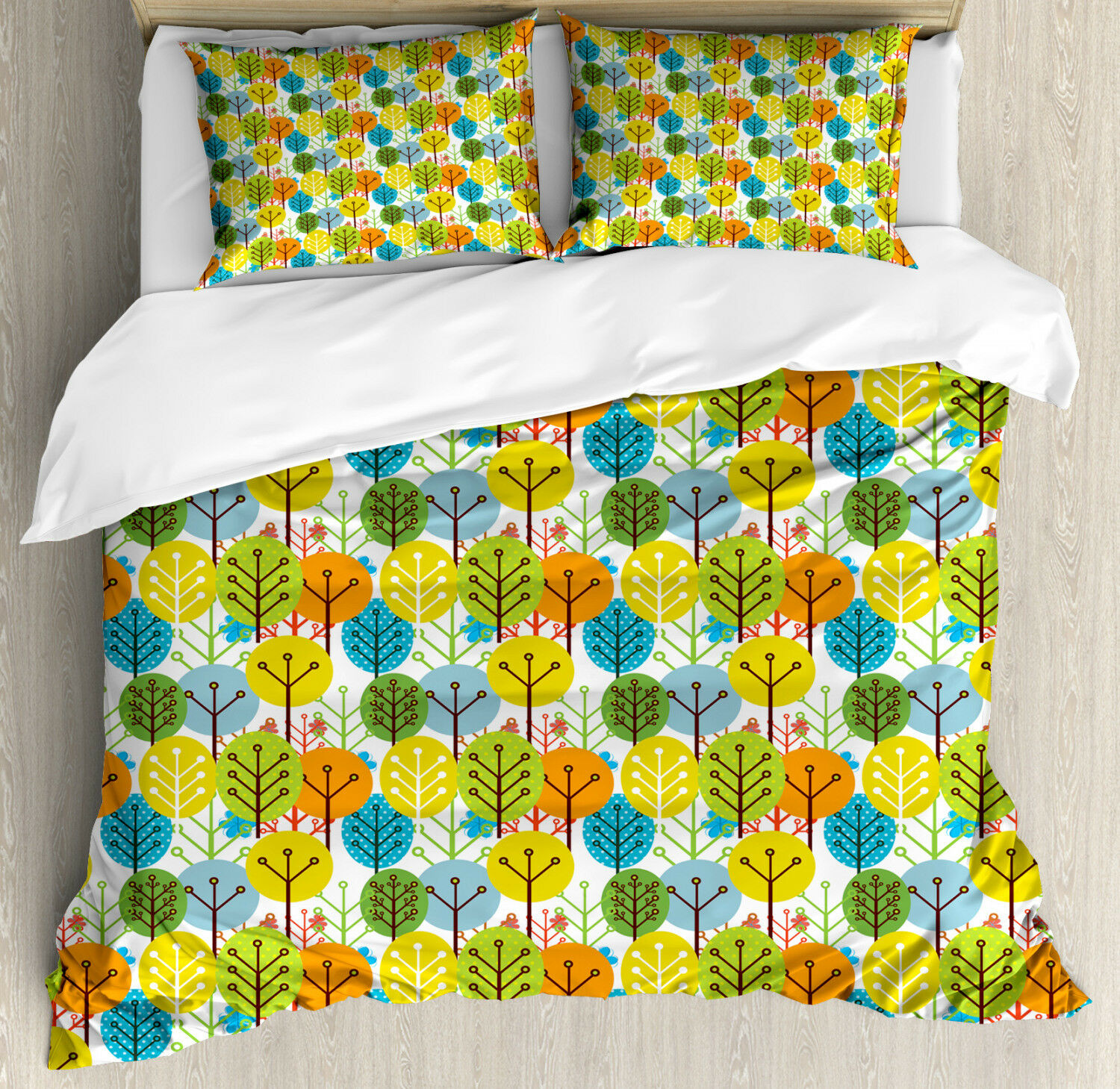 Baby Duvet Cover Set with Pillow Shams Sute Summer Trees Pattern Print