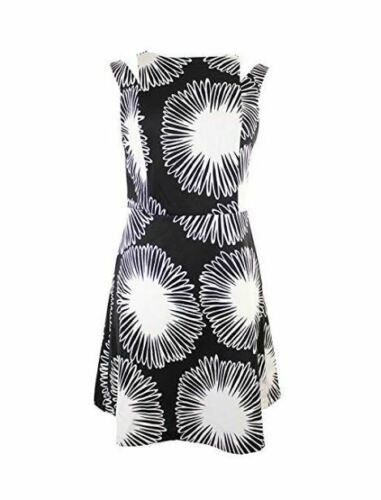 kensie WOMEN/'S Daisy Burst/' Print Fit /& Flare Dress Black