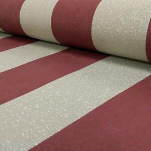 Stripe-Red-Gold-Glitter-Wallpaper-Stripes-Metallic-Textured-Paste-The-Wall-P-S