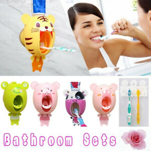 Convenient Cute Automatic Toothpaste Dispenser Wall Mount Stand Bathroom for Kid