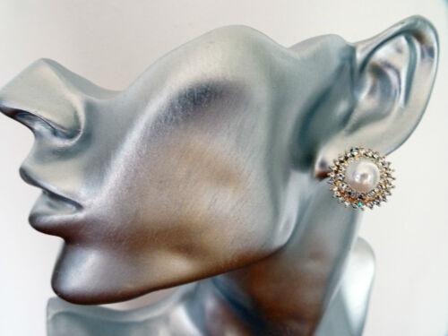 Orecchini A Perno Strass con Cristalli e finta perla grande forma rotonda