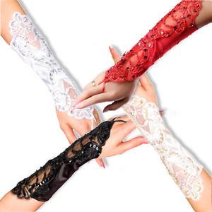 Handschuhe & Fäustlinge Sammlung Hier 12060 Satin Handstulpen Fingerlose Handschuhe Stulpen Burlesque Hochzeit Hand