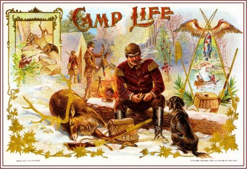 1899 Camp Life Dog Retriever Smoke Vintage Cigar Tobacco Box Crate Label Print