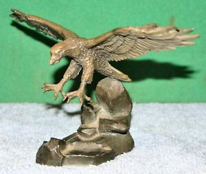 Details about Vintage American Eagle Statue by RS Hudson Pewter with Alloy  Base