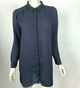 COS Long Sleeve Tunic Top Button-Up Solid Navy Blue Collared Shirt Women 8