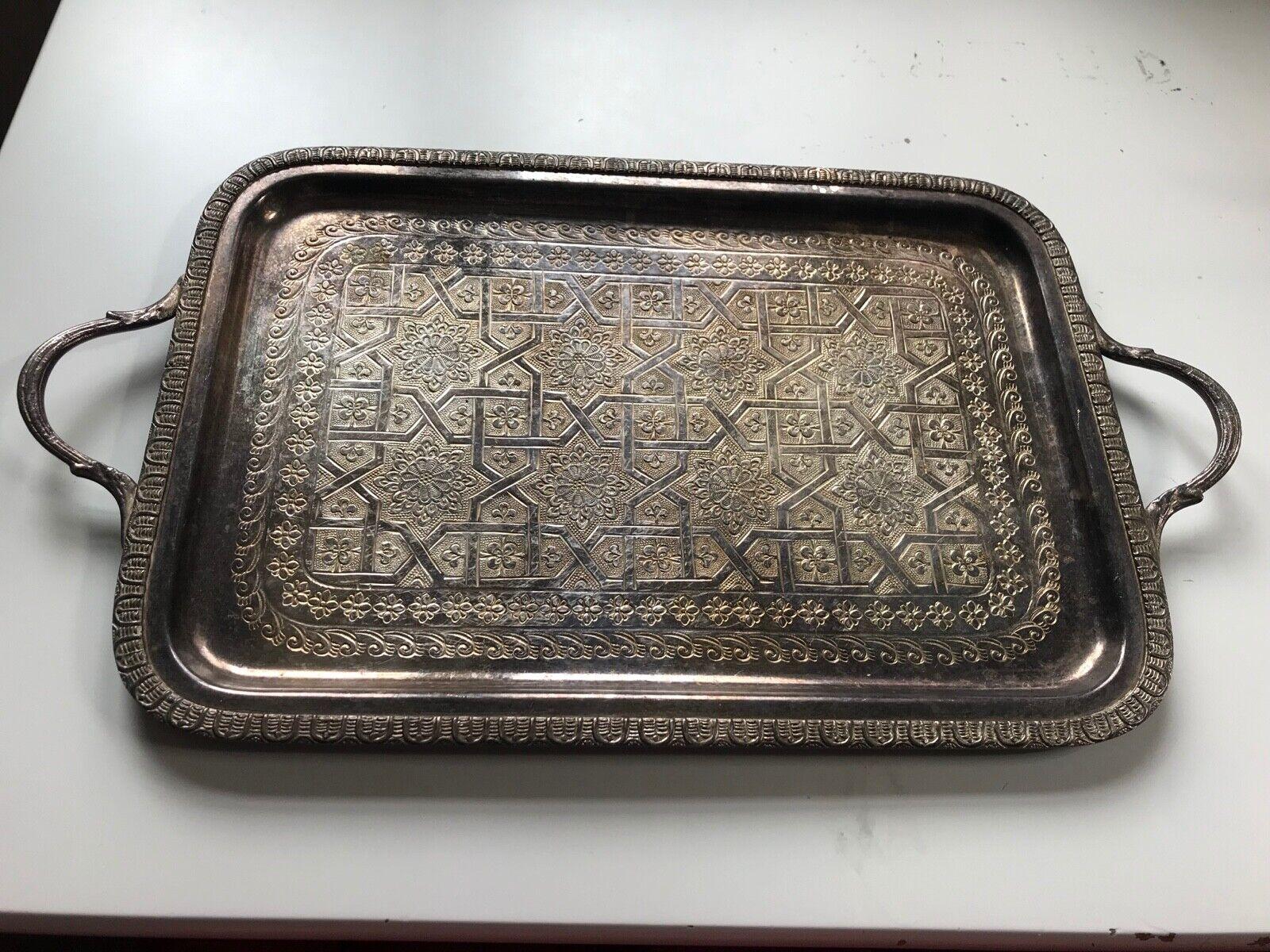 VINTAGE Arabo Maroccan argentoo Placcato Vassoio da tè 15