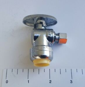1-PIECE-1-2-034-PUSH-FIT-X-1-4-034-OD-COMP-SHARKBITE-STYLE-1-4-TURN-ANGLE-STOP-VALVE