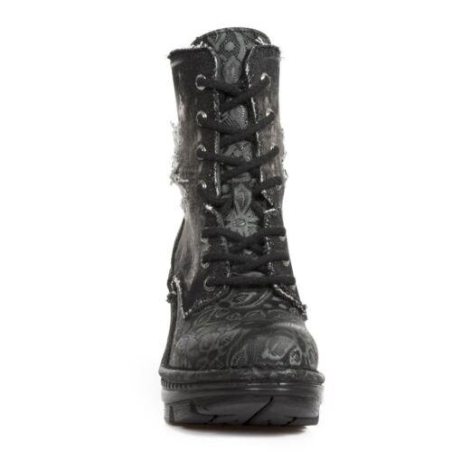 New Rock NEW ROCK NEOTR029-S1 BLACK VINTAGE PRINT DENIM LADIES LEATHER BOOTS