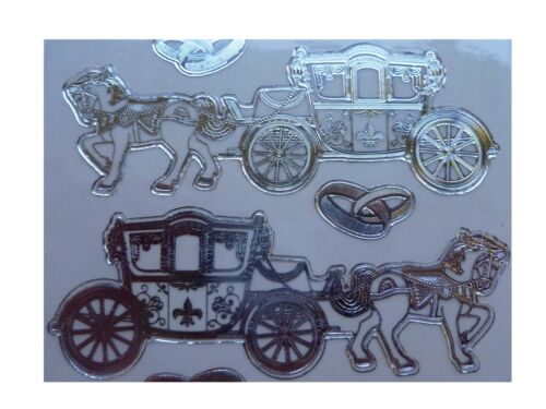 HORSE /& CARRIAGE Peel Off Stickers Gold or Silver on Clear  Princess Wedding