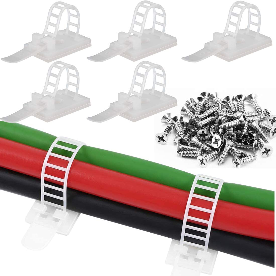 50Pcs Reusable Adhesive Cable Management Extra Screw Hole, Multi-Purpose Cable