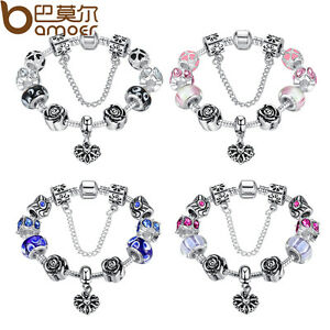 European-925-Silver-Bracelet-With-Heart-Charm-Murano-Beads-For-Women-DIY-Jewelry