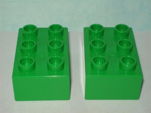 LEGO DUPLO 2 Stück 6er Bausteine Steine grün 2x3 Noppen  NEU