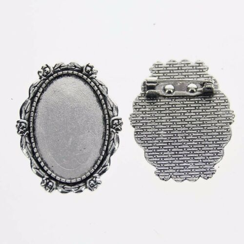 2pcs Tibetan Silver Color jante ovale 20x30mm Cabochon Settings Broche Design XA025