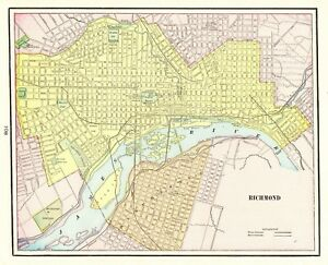 1901 Antique Richmond Virginia Map Vintage State Map Gallery Wall