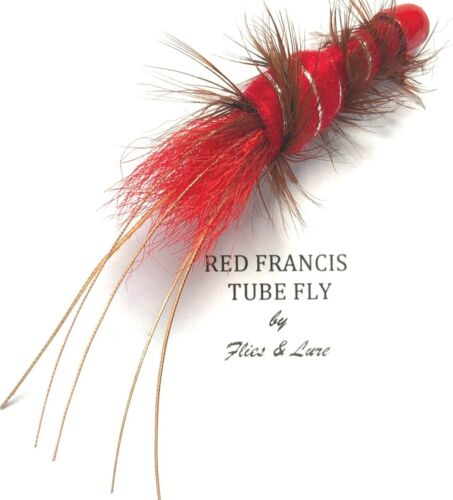 1st Class Post 2,3 or 4 Salmon Fly Fishing 25mm Tube flies RED FRANCIS