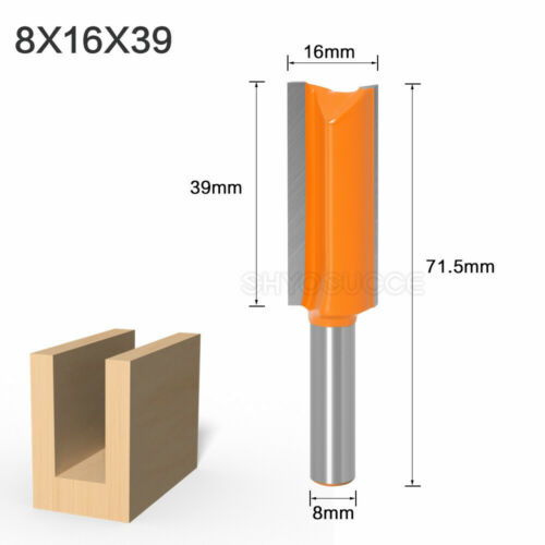 14mm 16mm 18mm Dia Double Flute Straight Bit Milling Cutter Woodwork Router Bit