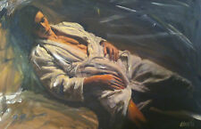 """SUPERB WILLIAM OXER ORIGINAL CANVAS """"The Interlude"""" male model nude  PAINTING"""
