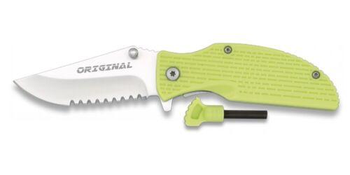 Outdoor Taschenmesser grün mit Feuerstarter Survival Säge-Zahnung