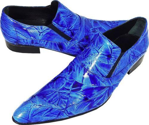 Chelsy Elaborado Zapato de Hombre Azul Denim Diseño Slipper Handmade Suela