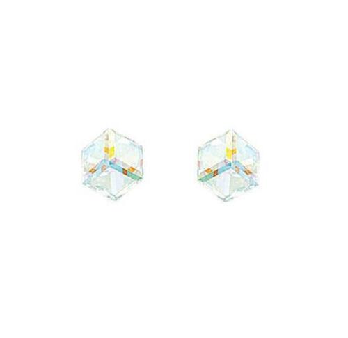 Boucles d'oreilles CUBE Cristal reflet irisé ARGENT NEUF BijouterieJOLYBIJOUX
