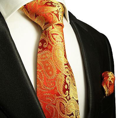 Rot goldenes Krawatten Set 2tlg Seidenkrawatten 695