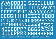 """WW2 /& 1946 RAF Letters Numbers 12/"""" Black 1//72 decals Fantasy Printshop 981 BK"""