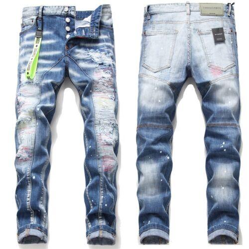 Neu Dsquared2 Jeans Slim Fit Herren DSQ2 Washed Denim CANADA Brothers Jeans Hot