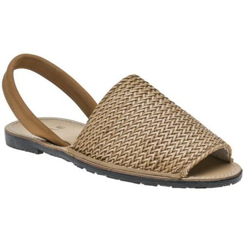 New Womens SOLE Tan Toucan Textile Sandals Flats Slip On