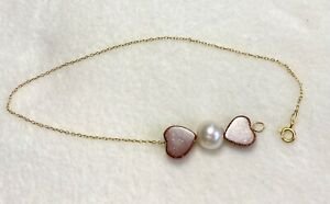 18K-Yellow-Gold-Bracelet-with-Pearl-amp-Heart-Resin