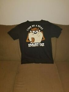 Warner-Bros-Looney-Tunes-034-I-Can-Be-A-Real-Smart-Taz-034-Tshirt-Black-Size-L-Large