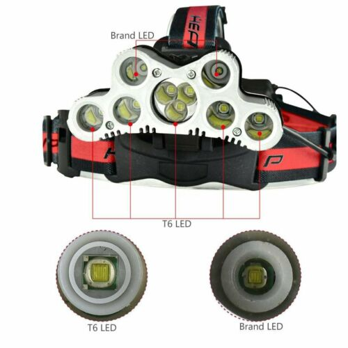 UK 350000LM T6 LED Headlamp Headlight Head Torch Rechargeable Flashlight Camping