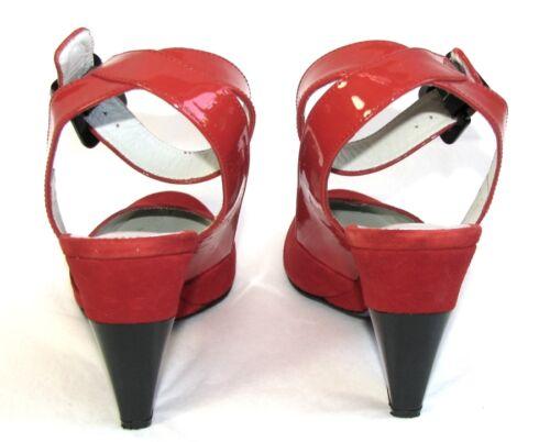 Sandalen 36 Accessoire Vollleder Zustand Rot Halb Sehr Diffusion Guter Keil S5wCq5