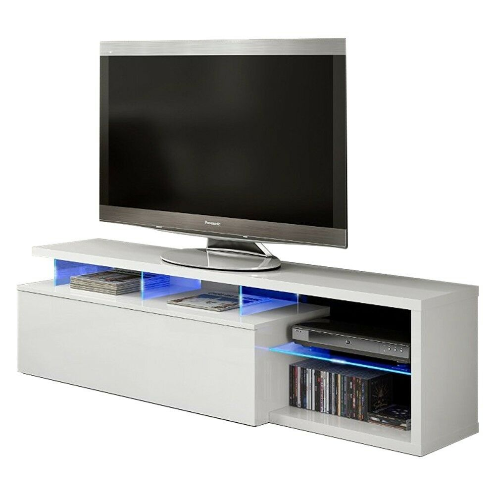 Mueble de comedor salon TV Blue-tech modulo salón con leds, color Blanco...