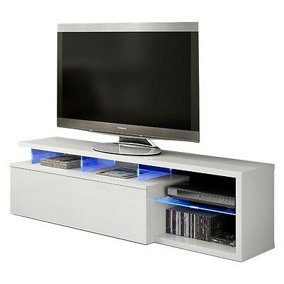 Mueble de comedor salon TV Blue-tech modulo salón con leds, color Blanco Brillo