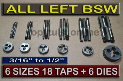 BSW LEFT HAND THREAD TAP /& DIE SET 3//16,1//4,5//16,3//8,7//16,1//2 ENGLISH THREAD