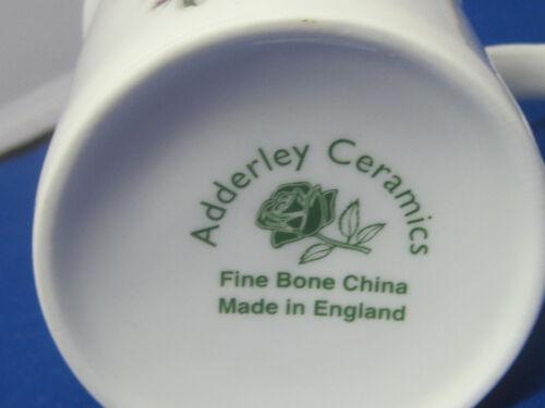 LILY VALLEY SET 4  MUGS MADE IN ENGLAND ADDERLEY  CERAMICS FINE BONE  CHINA 10oz