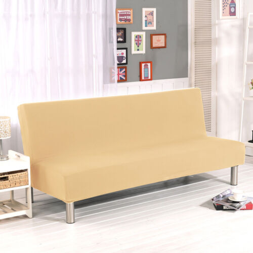 Armless Sofa Bed Cover Futon Slipcover Full Folding Couch Settee Elastic Stretch