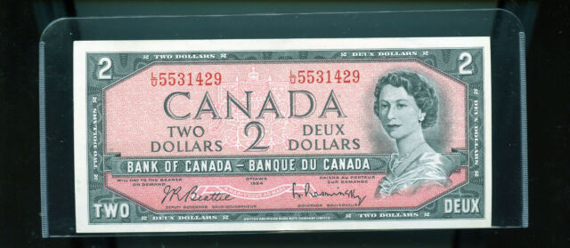 1954 Bank of Canada $2 Beattie Rasminsky AU Wl16