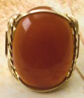 R92 Large Carnelian Artisan Ring 14k Rolled Gold Mens Or Ladies