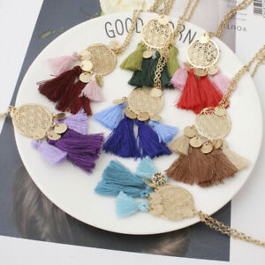 New-Fashion-Women-Jewelry-Chain-Bohemian-Hollow-Tassel-Pendant-Necklace