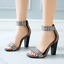 thumbnail 5 - Women's Gladiator Ankle Strappy Spike Open Toe Club Chunky Heel Sandals Shoes