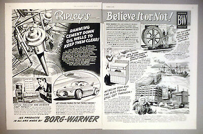 Borg-warner Products 2-page Print Ad 1956 ~~ Ripley's Believe It Or Not Reliable Performance Advertising