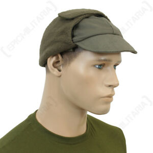 81a2d6392 Details about German Olive Green Winter Cap - Genuine Army Surplus Hat Ear  Flaps Soldier Sizes