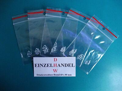 100 Druckverschlussbeutel 60 x 80 mm mit Stempelfeld 50my transparent