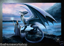 ANNE STOKES BLACK FRAMED NEW HORIZON DRAGON - 3D MOVING PICTURE 465mm x 365mm
