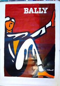 BERNARD-VILLEMOT-BALLY-HOMME-AFFICHE-ORIGINALE-CIRCA-1980