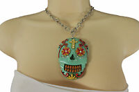 Women Silver Metal Chain Fashion Jewelry Long Necklace Day Of The Dead Skull